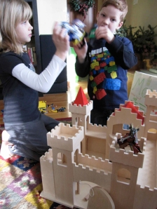 The battle of wood (castle) vs. plastic (legos)