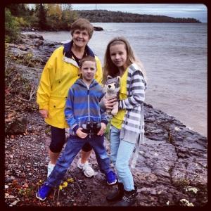 Nana and kids on the shore